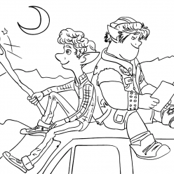 Раскраска из мультфильма «Вперед» Onward Иэн и Барли, чтобы бесплатно распечатать А4 для детей