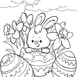 Раскраска Пасхальный кролик с яйцами на праздник «Пасха», чтобы распечатать в хорошем качестве А4 для детей и взрослых
