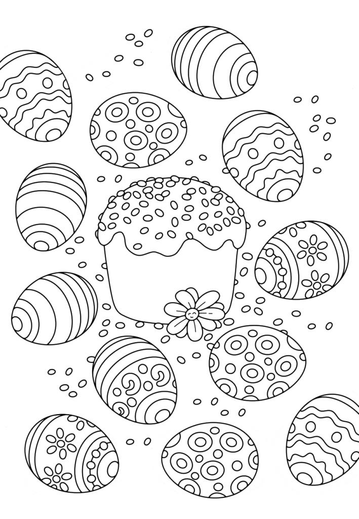 Раскраска Кулич на праздник «Пасха», чтобы распечатать в хорошем качестве А4 для детей и взрослых