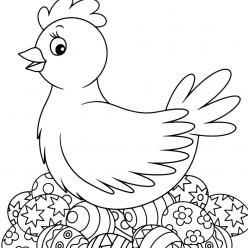 Раскраска Курочка с пасхальными яйцами на праздник «Пасха», чтобы распечатать в хорошем качестве А4 для детей и взрослых