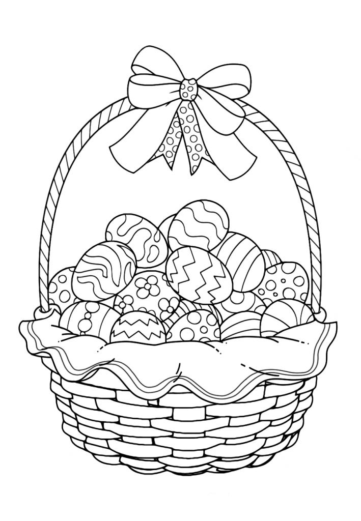 Раскраска Корзина на праздник «Пасха», чтобы распечатать в хорошем качестве А4 для детей и взрослых