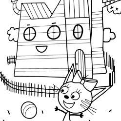 Раскраска из мультфильма «Три кота» Карамелька, чтобы бесплатно распечатать А4 для детей