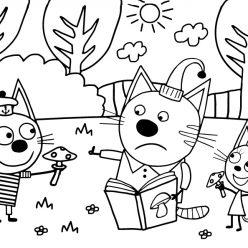 Картинка из мультфильма «Три кота» Коржик, Карамелька и Компот собирают грибы, чтобы бесплатно распечатать А4 для детей