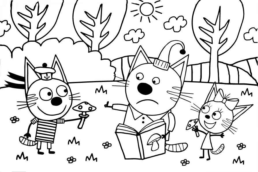 Коржик, Карамелька и Компот собирают грибы - Три кота ...