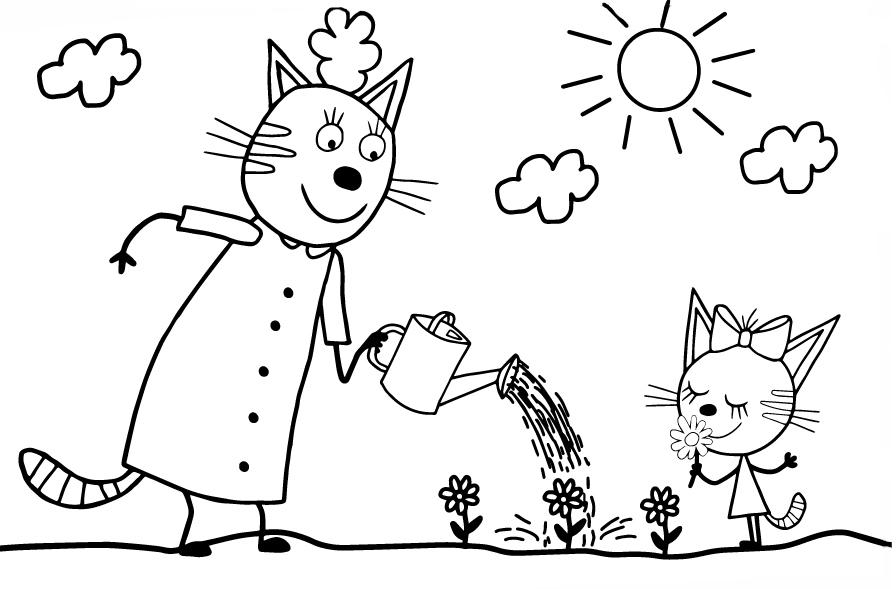 Картинка из мультфильма «Три кота» Карамелька и мама, чтобы бесплатно распечатать А4 для детей
