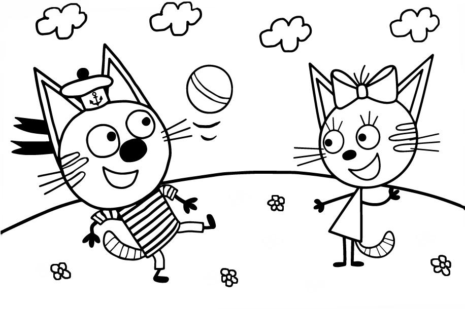 Раскраска из мультфильма «Три кота» Коржик и Карамелька, чтобы бесплатно распечатать А4 для детей