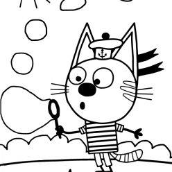 Раскраска из мультфильма «Три кота» Коржик, чтобы бесплатно распечатать А4 для детей