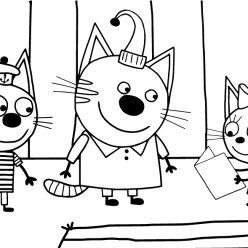 Раскраска из мультфильма «Три кота», чтобы бесплатно распечатать А4 для детей
