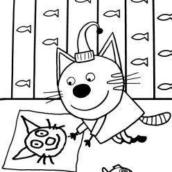 Раскраска из мультфильма «Три кота» Компот, чтобы бесплатно распечатать А4 для детей