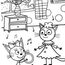 Раскраска из мультфильма «Три кота» Карамелька и Лапочка, чтобы бесплатно распечатать А4 для детей