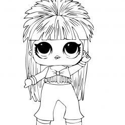 Раскраска кукла ЛОЛ Королева диско, чтобы распечатать в хорошем качестве А4 для детей