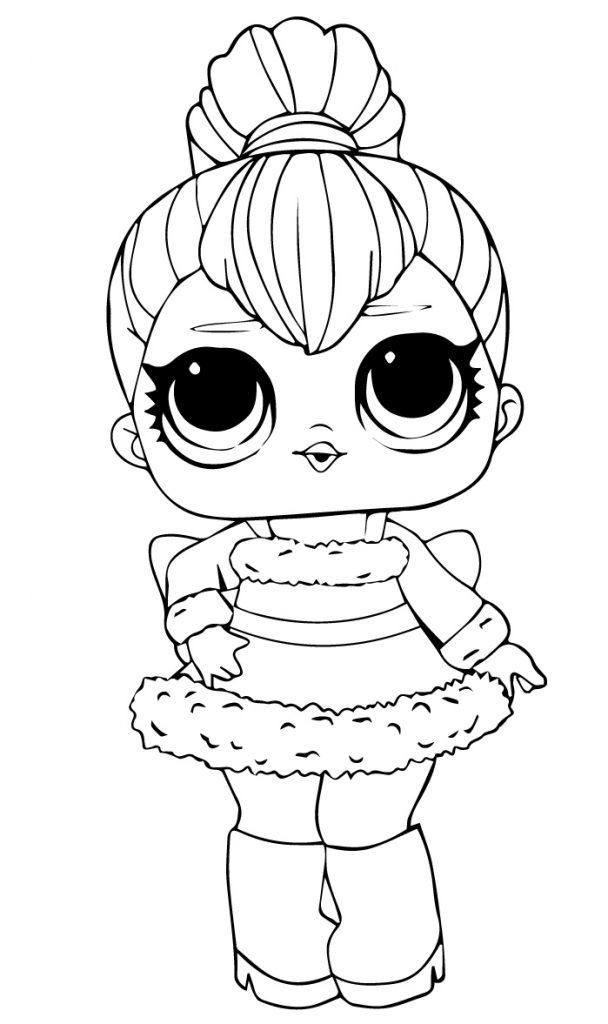 Раскраска кукла ЛОЛ винтер диско, чтобы распечатать в хорошем качестве А4 для детей