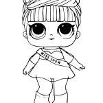 Раскраска кукла ЛОЛ мисс шоу зимняя дискотека, чтобы распечатать в хорошем качестве А4 для детей