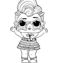 Раскраска кукла ЛОЛ N.Y.E.Q.T зимняя дискотека, чтобы распечатать в хорошем качестве А4 для детей
