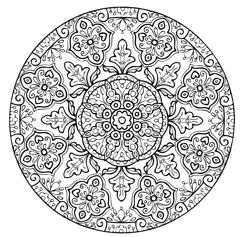 Распечатайте бесплатно картинку «Мандала» со значением помощь и раскрасьте