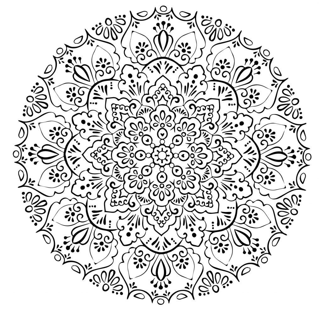 Распечатайте бесплатно картинку мандала со значением и раскрасьте