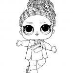 Раскраска кукла ЛОЛ с косичками зимняя дискотека, чтобы распечатать в хорошем качестве А4 для детей