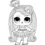 Раскраска кукла ЛОЛ с розовыми волосами, чтобы распечатать в хорошем качестве А4 для детей