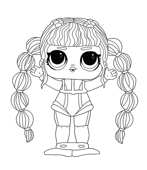 Раскраска кукла ЛОЛ Водолаз с синими волосами, чтобы распечатать в хорошем качестве А4 для детей