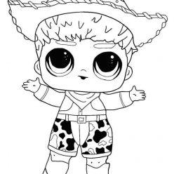 Раскраска кукла ЛОЛ мальчик ковбой, чтобы распечатать в хорошем качестве А4 для детей