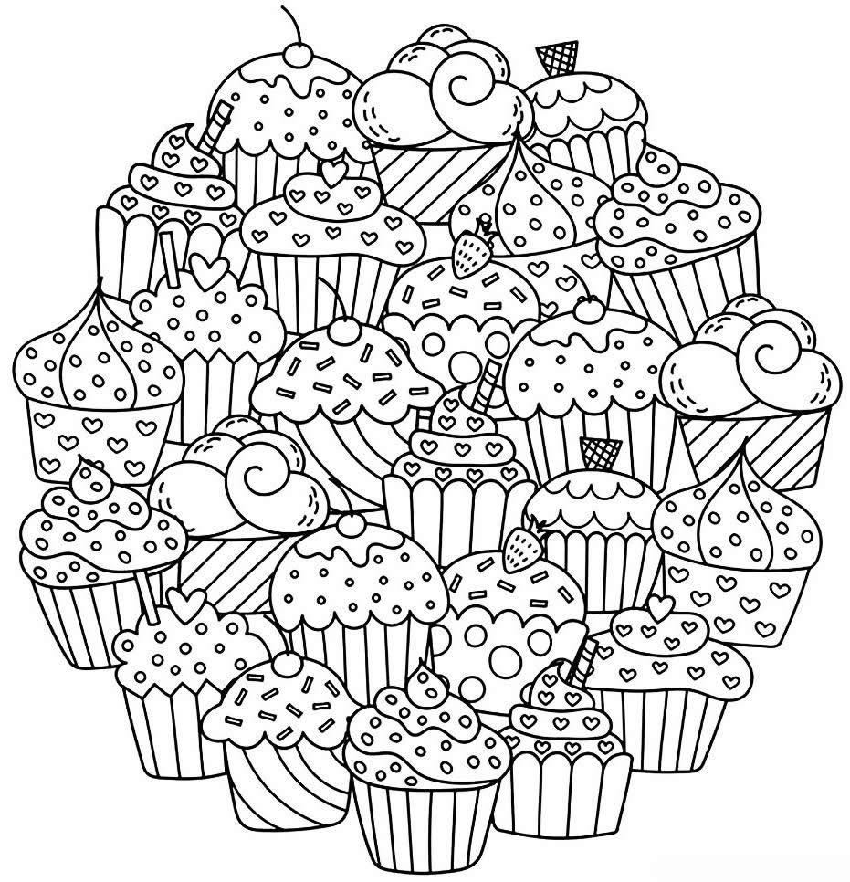 Распечатать и раскрасить картинку «Мандала» Сладости, кексы и капкейки, бесплатно в хорошем качестве.