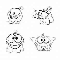 Раскраска из мультфильма зеленый монстрик «Ам Ням»,чтобы бесплатно распечатать А4 для детей