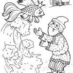 Раскраска из детской сказки Золотая рыбка в хорошем качестве