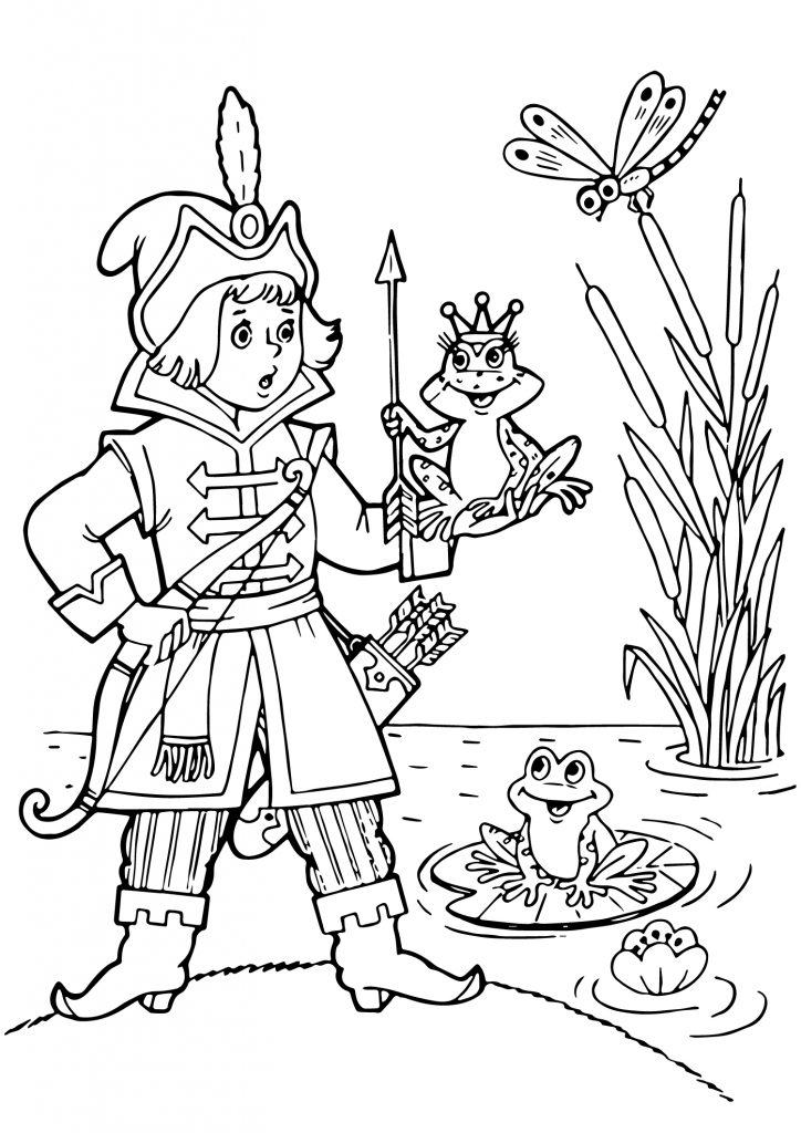 Картинка раскраска царевна Лягушка с принцем из сказки для детей