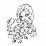 Раскраска «Девушка и питон», чтобы распечатать в хорошем качестве А4 для девочек