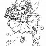Раскраска «Девочка с собачкой», чтобы распечатать в хорошем качестве А4 для девочек