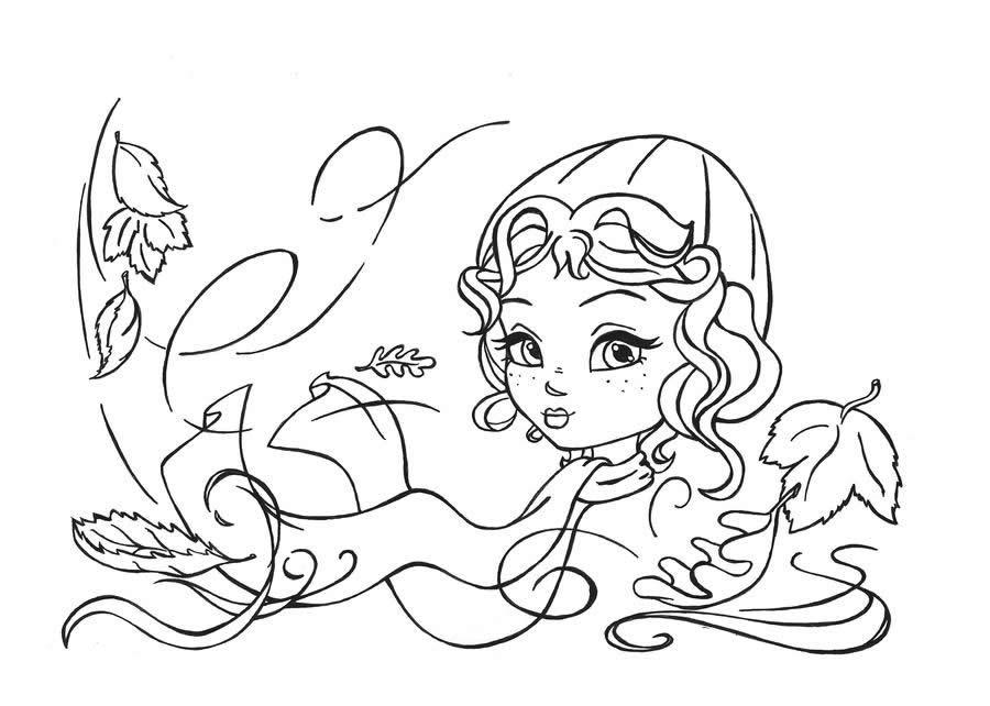 Раскраска «Девочка осень», чтобы распечатать в хорошем качестве А4 для девочек