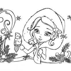 Раскраска «Девочка в новый год», чтобы распечатать в хорошем качестве А4 для девочек