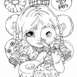 Раскраска «Девочка и пончики и донаты», чтобы распечатать в хорошем качестве А4 для девочек