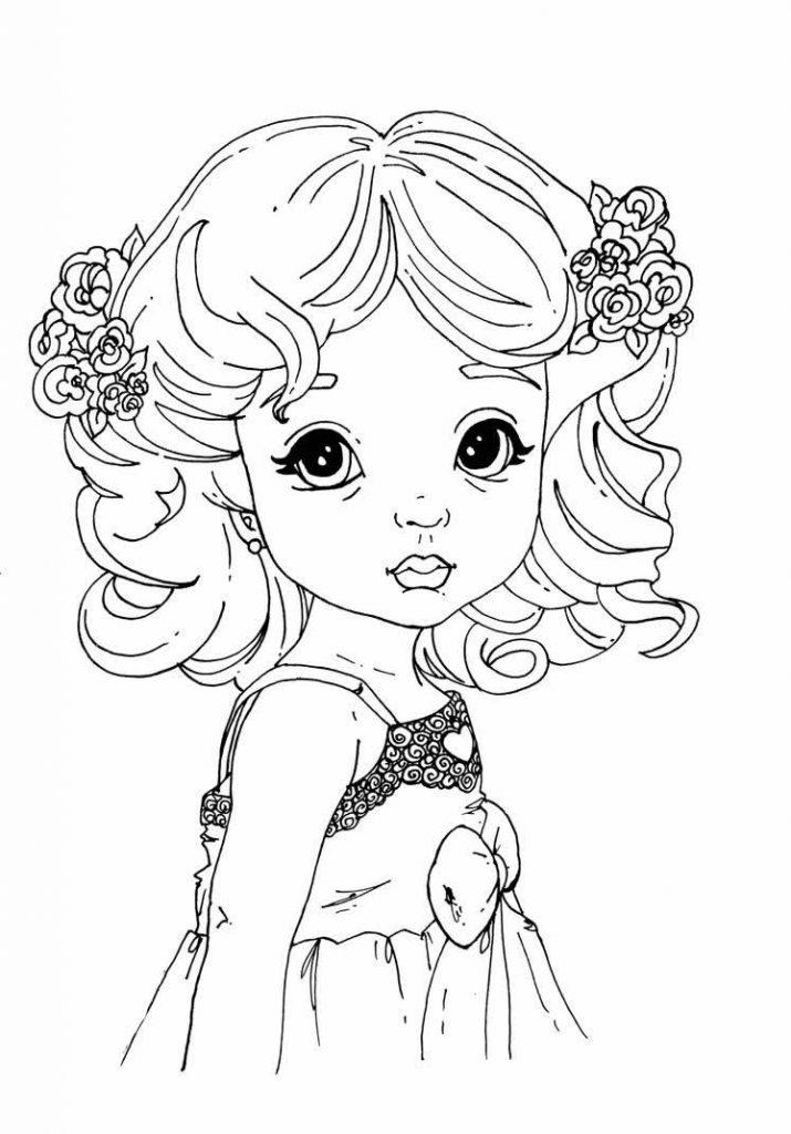 Раскраска «Милая девочка с кудряшками», чтобы распечатать в хорошем качестве А4 для девочек