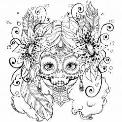Раскраска «Лицо раскрашенное на Хэллоуин», чтобы распечатать в хорошем качестве А4