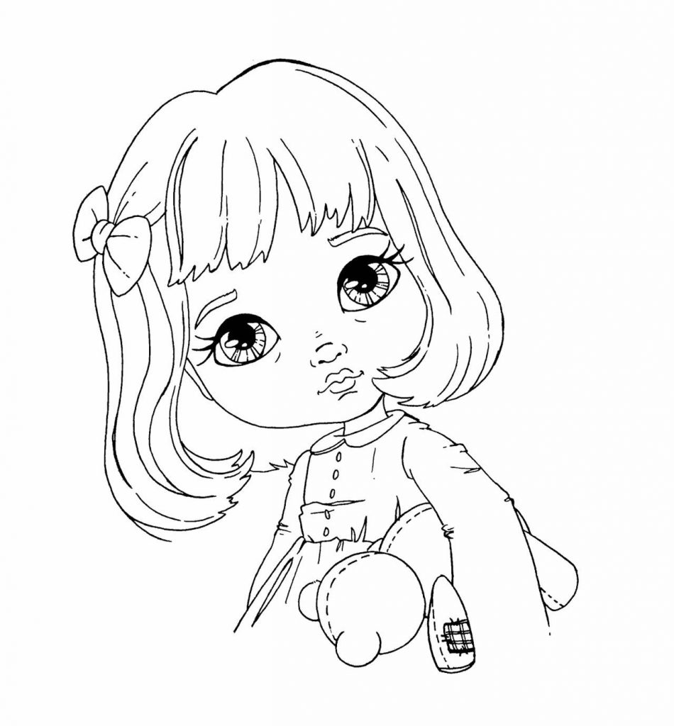 Раскраска «Девочка с мишкой», чтобы распечатать в хорошем качестве А4 для девочек