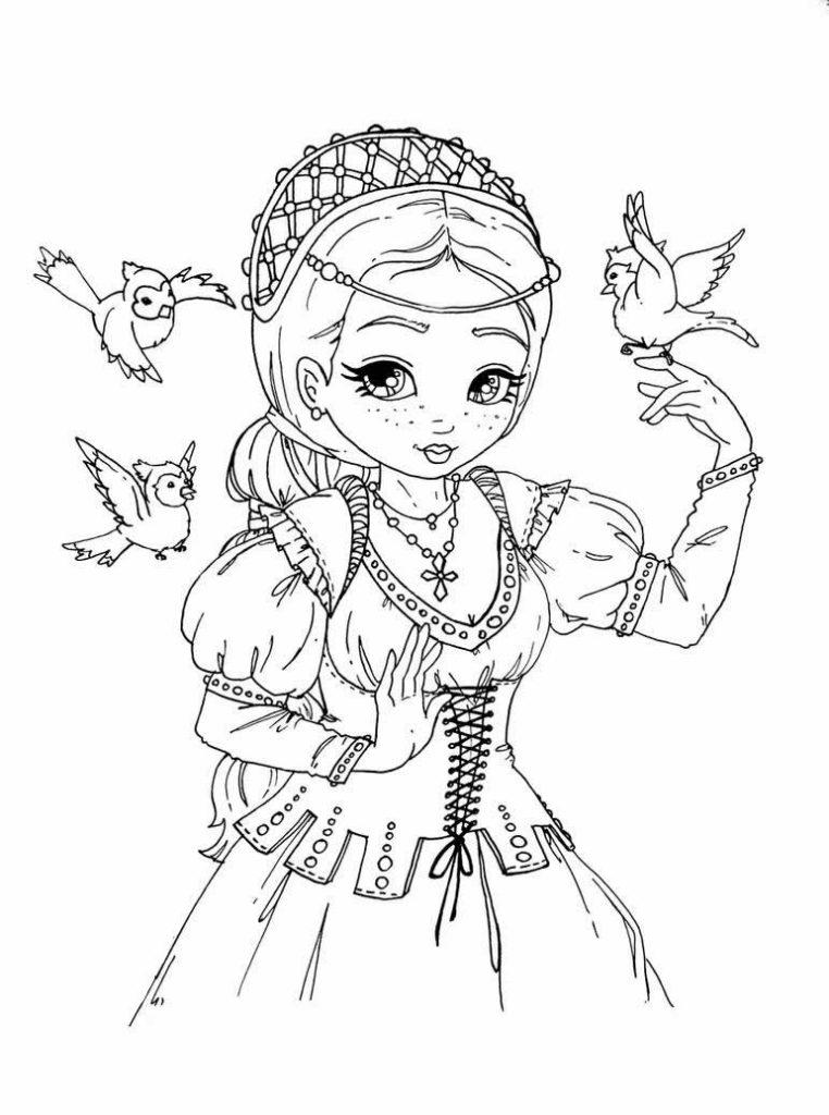 Раскраска «Девушка в средневековом наряде с птичками», чтобы распечатать в хорошем качестве А4 для девочек