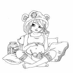 Раскраска «Беременная девушка ест сладости», чтобы распечатать в хорошем качестве А4