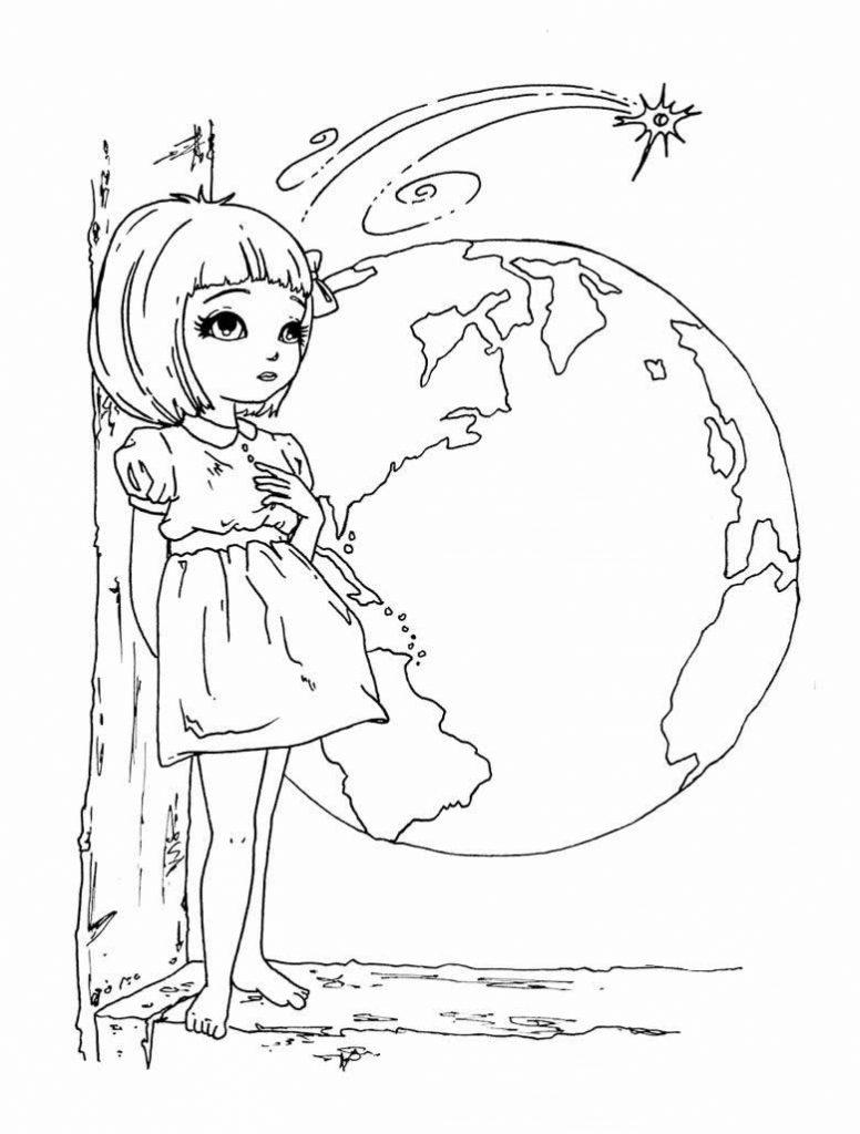 Раскраска «Девочка и планета Земля», чтобы распечатать в хорошем качестве А4 для девочек