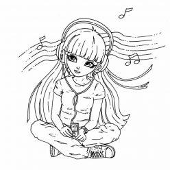 Раскраска «Девушка в наушниках слушает музыку», чтобы распечатать в хорошем качестве А4 для девочек